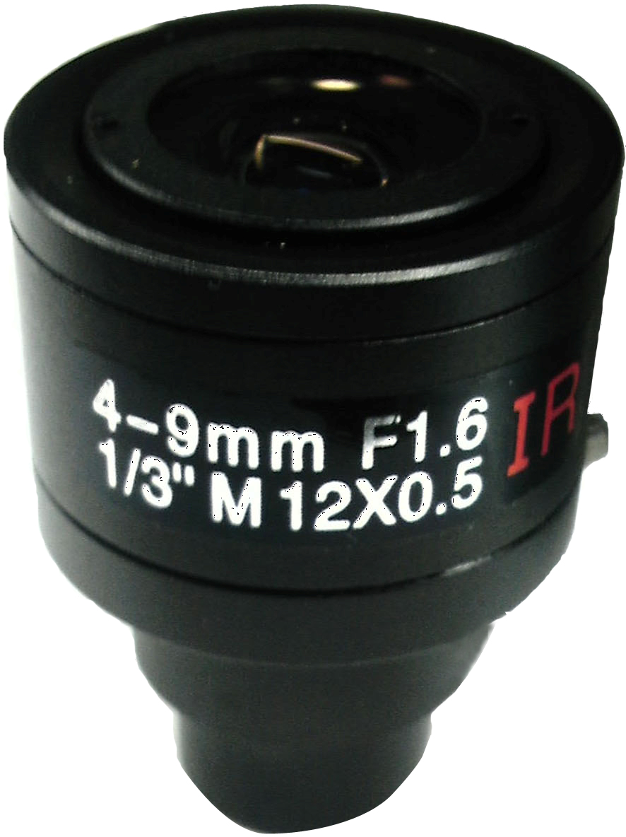 CCTV 1/3 Formate F1.6 Aperture Manual 4-9mm Lens Black