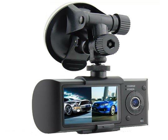 2.7 inch Dual cameras + GPS tracking + G Sensor car DVR car black box